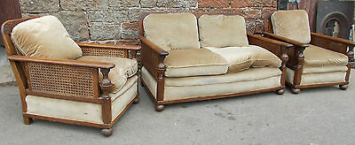3 Piece BERGERE CARVED Antique LOUNGE Armchairs LOW Rattan SIDES & Back In OAK