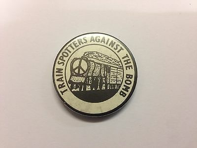 Vintage Trainspotters Against The Bomb Cnd Pin Badge