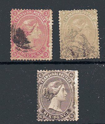 South Africa,, TRANSVAAL,, 1878,, SG 135-7,, the three values fine used