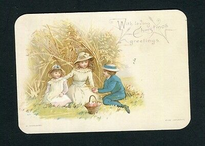 Victorian Christmas Card,Children with Picnic,HAGELBERG.no.108