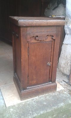 Small French Antique 19Thc Oak Rustic Side Cupboard/stand