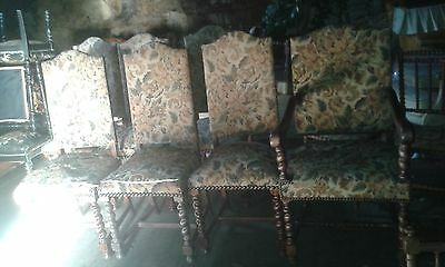 Set Of 7 Vintage French Barley Twist Detail Dining Chairs In Solid Useable Cond