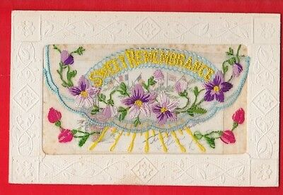 WW1 Embroidered silk postcard, Sweet remembrance, greetings. 1914-1918,