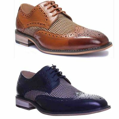 Justin Reece Gerard Mens Smart Check Tweed Chisel Toe Leather Hand Made Lace up