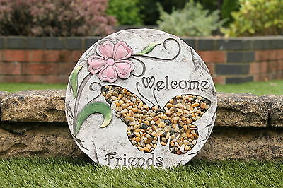 25cm Garden Stepping Stone Pebbled Garden Ornament - Butterfly by PK Green