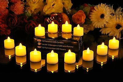 12 Amber LED Battery Candles, Flameless Flickering Tea Lights by PK Green