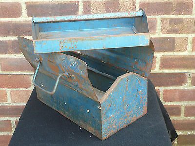Vintage Hammered Blue Industrial Twin Handled Metal Tool Storage Box & Tray