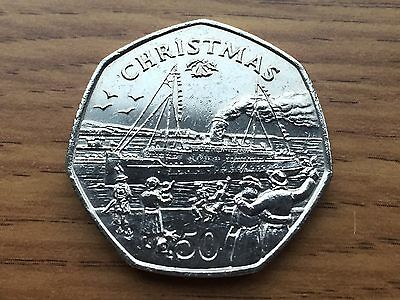 1990 Isle of Man 50p Lady of Mann Ferry - Christmas Fifty Pence Coin IOM Manx