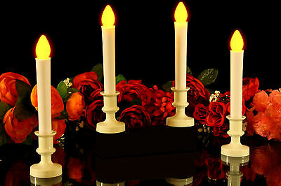 4 Flameless LED Taper Candles in Ivory Holders - Battery Candle Event Lighting