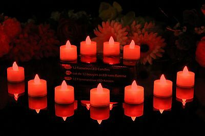12 Flickering Red Flameless LED Tea Lights - Battery Operated Candles