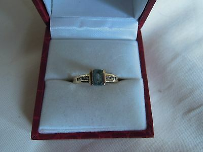 9Ct Gold Blue Topaz With Diamonds Ring Size M