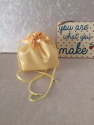 LEMON SATIN DOLLY BAG BRIDAL BRIDESMAID PROM FLOWER GIRL BNIP *free samples*