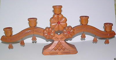 Latvia Handcrafted Oak Candle Holder w/Amber Cabochons