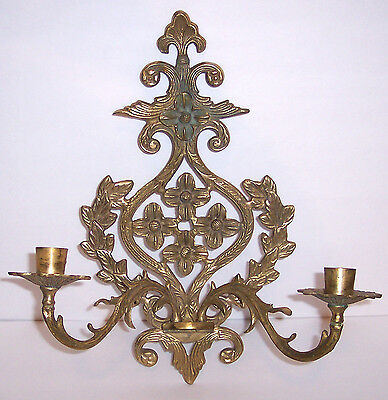 Brass Sconce 2 Arm Candlestick Holder Hollywood Regency Ornate Art Nouveau Style