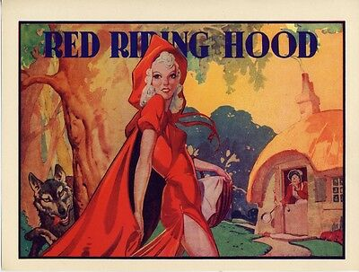 """02 - ORIGINAL RED RIDING HOOD """"PASTE ON"""" FOR PANTOMIME POSTER - 1940s"""