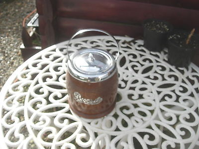 Vintage 1930S 40S Oak And Chrome Fittings Biscuit Barrel With Ceramic Liner