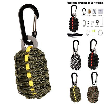Survival Kit 550 Paracord Grenade 12 Tools EDC Camping Fishing Emergency Gear