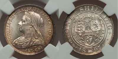 1897 Great Britain Silver Coin One Shilling Queen Victoria Draped Bust NGC MS 63
