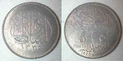 Rare Egypt Silver Coin One Year Type 5 Piastres 1920 AD 1338 AH Sultan Fuad XF