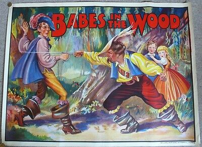 ORIGINAL 1930s PANTOMIME POSTER - BABES IN THE WOOD - QUAD