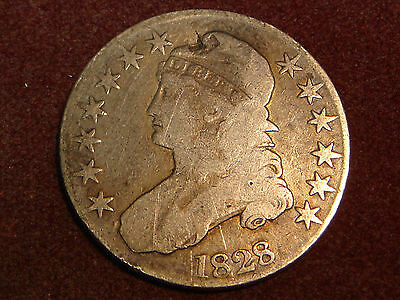 1828 Capped Bust Half Dollar VG-F details - contact mark on turban