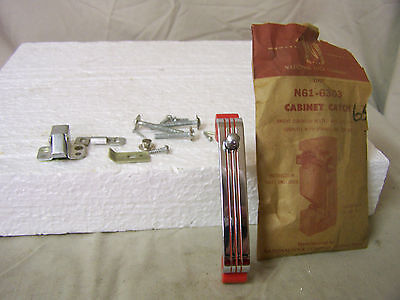 Vintage Chrome with Red Lines Cabinet Catch National Lock Company #N61-6303