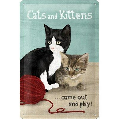 BLECHSCHILD 22179 - CATS AND KITTENS (KATZEN) ...COME OUT AND PLAY! - 20 x 30 cm