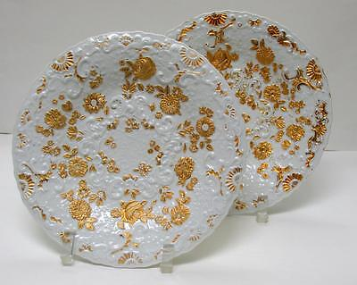 Pair Of Antique Meissen Hand-Painted White Cabinet Dishes With Gold Trim