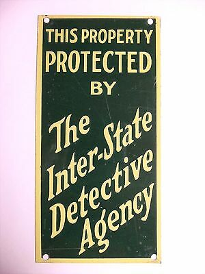 Vintage Door Push Sign Advertising Interstate Detective Agency 1930s Property