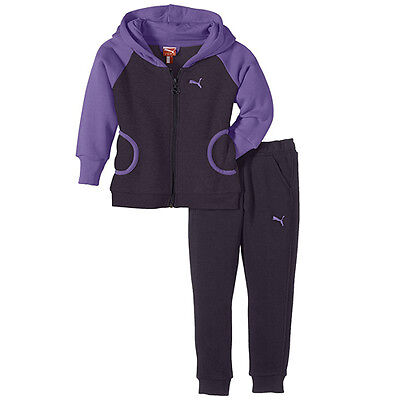 Puma Hooded Kids Girls Sweat Suit Navy Purple Tracksuit 829862 02 WH