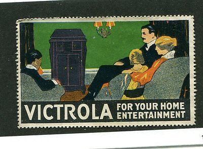 Vintage Poster Stamp Label VICTROLA for home entertainment Record Player Stereo