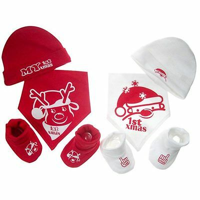 Baby 'MY 1ST CHRISTMAS' Bib, Hat & Bootee Set Gift Set Red and White