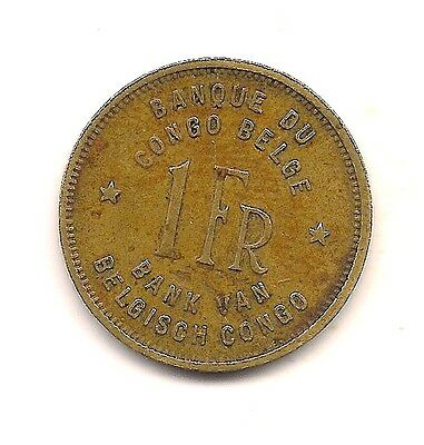 1949 Belgian Congo One Franc--Strong Details !!
