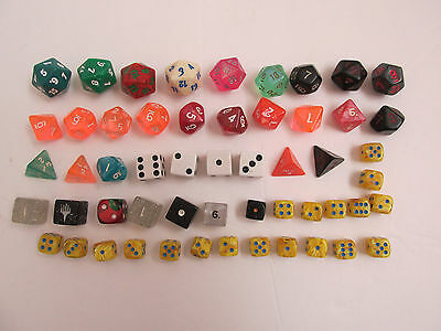 Lot of 54 DICE Different Sizes Colors Shapes