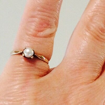 10k yellow gold pearl ring antique vintage solid gold size 6.5