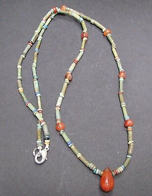 NILE  Ancient Egyptian Carnelian Amulet Mummy Bead Necklace ca 1000 BC