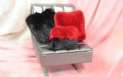 ~Three Black and Red Real Fur Pillows Cushions4 Dollhouse 4 Sydney doll~dimitha~