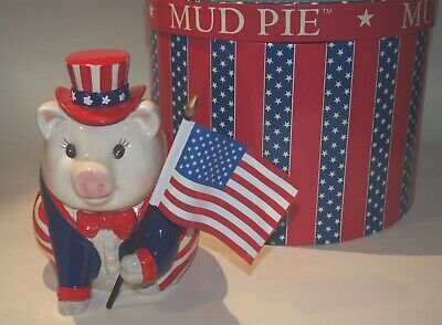 Mud Pie The Patriot Piggy Pig Bank 2001 w/Original Round Box Uncle Sam Flag