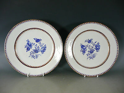 Pair Of Chinese Blue And White Porcelain Plates Qianlong 18Thc #2