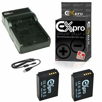 2 x Ex-Pro Battery + USB Charger LP-E12 LPE12 for Canon EOS M M2 M10 100D