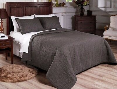 Chezmoi Collection 3-Piece Vintage Prewashed 100% Cotton Quilt Set Queen, Gray