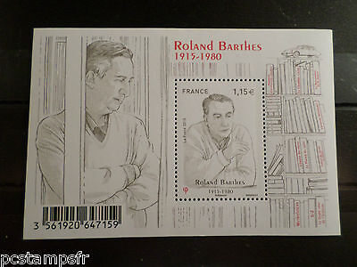 FRANCE 2015, BLOC FEUILLET TIMBRE ROLAND BARTHES, CELEBRITE, neuf** MNH STAMP
