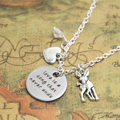Bambi ' Love Is A Song That Never Ends ' Quote Charms Necklace Gift Bag Or Box