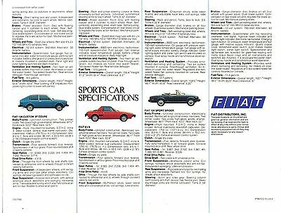 Fiat 1977 Sports and Family Car Specifications Dealer Brochure