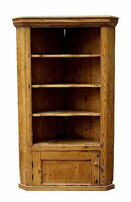 Antique Victorian Stripped Waxed Pine Rustic 19th Century Corner Cupboard