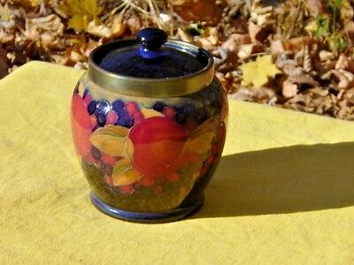 Early William Moorcroft British Pomegranate Biscuit Jar Or Humidor..silver Rim