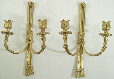 Pair: Vintage Continental Rococo Style Gilt Bronze Wall Sconces w/ Ribbons 20thC