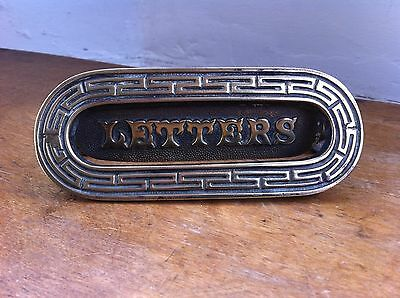 DECORATIVE ANTIQUE BRASS LETTER FLAP 5.7  by 2.3 inches