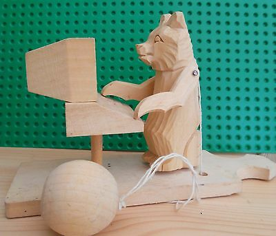 Russian Carved Wooden Folk Art Toy Mishka Moving Bear On Computer