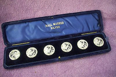 Set Of 6 Solid Silver Buttons - Diana The Huntress - R.p - Chester 1902